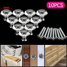 10 Pcs Door Knobs Handles Clear Crystal Glass Cupboard Drawer Cabinet Kitchen UK