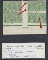 G379) Australia 1927 KGV 1d Green sml. multiple wmk perf 14, N over N Ash Block