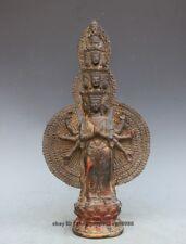 Tibet Nepal purple Bronze Thousand hands Guanyin Kwam-Yin Avalokitesvara Statue