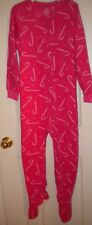NWT Girls 1 PC Footed Candy Cane Pink Christmas Pajamas Size S 7/8 Flame Resista