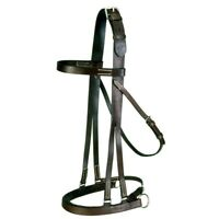 EquiRoyal Hackamore Jump Bridle with Leather Noseband with Rings Full Brown