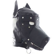 PU Leather Dog Doggy/Puppy Full Hood Mask Costume With Month Zipper & Eyes patch