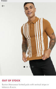 Burton Knitted Stripe Polo Shirt Medium Mens Striped Tobacco And Ecru T-shirt
