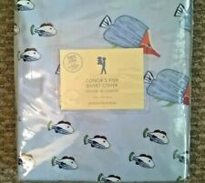 New Pottery Barn Kids Blue Conor FISH 🐟 Twin DUVET & SHAM ocean Colorful