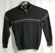 Men's Eddie Bauer Pullover Sweater Medium Long Sleeve Gray 100% Cotton 1/4 Zip