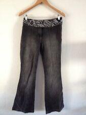 Next Cotton/Elastane Jeans Size 10 Long Kick Flare Beaded Waist Charcoal <R11609