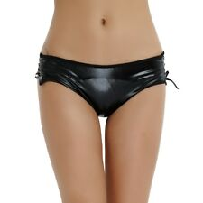 Women Lingerie Wetlook Lace-up Crotchless Bikini Faux Leather Underwear Clubwear