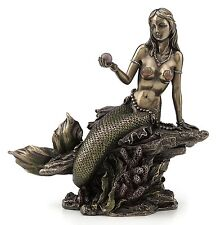 Mermaid Holding Pearl Sculpture Figurine Statue Nautical Decoration Home Decor