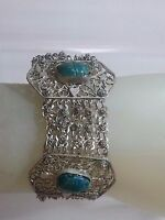 Egyptian revival art Deco Scarab Beetle Chain Filigree Bracelet