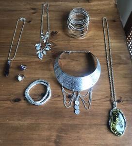 silver boho jewellery Necklace Bracelet Amethyst Shell Amber Crystal Ring
