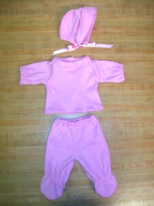 """LT BLUE or PINK KNIT CAP SHIRT PANT BABY for 10 11 12"""" CPK Cabbage Patch BBB"""