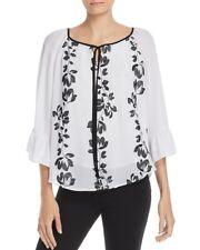 $268 Jonathan Martin Aliza Women'S White Black Floral Sheer-Sleeve Blouse Top L