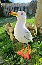 More details for fair trade hand carved made wooden beach seagull garden bird ornament sculpture