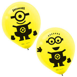 DESPICABLE ME Minion Fun LATEX BALLOONS (6) ~ Birthday Party Supplies Latex