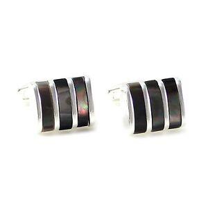 New Luxury Platinum Plated Genuine Abalone Stripes Cuff links 0728