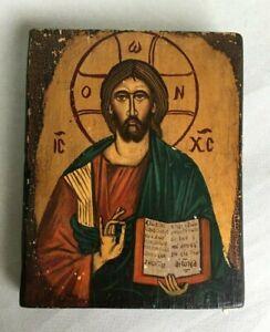 VINTAGE ICON OIL PAINTING JESUS CHRIST ON WOOD BLOCK hand painted pantocrator