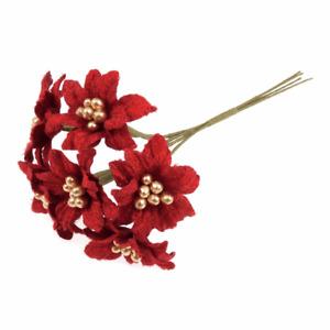 Small Red Velvet Poinsettia - 6 Stems