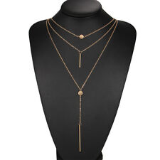 Choker Multi-Layer Round Metal Long Drop Pendant Collar Chain Necklace Jewelry