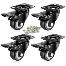 Enjucom 2 Inch Swivel Caster With Safety Dual Locking Heavy Duty 600lbs Set Of 4