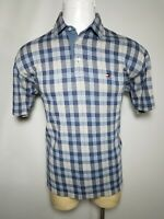 Tommy Hilfiger Large L Blue Gray Plaid Men's Short-Sleeve Polo Golf Shirt