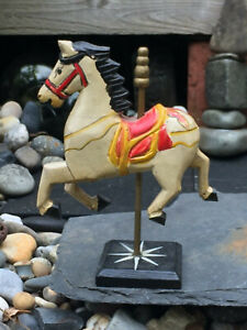 Vintage Folk Art Hand Carved Hand Painted Wood Carousel Horse And Base