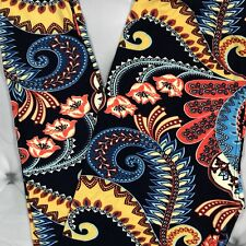 NWT Paisley Floral Print Buttery Soft Leggings Blue Onesize OS Plus TC