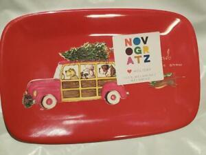 NWT NOVOGRATZ Dachshund Through The Snow Christmas Snack Plate Melamine Woody