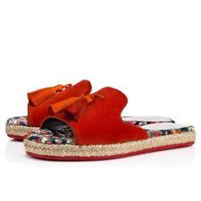 NIB Christian Louboutin Pacha Flat Red Bisou Tassel Espadrille Slide Sandals 37
