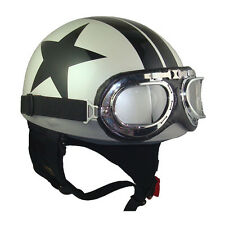 Vintage Scooter Goggles OPEN FACE HALF helmets,White/Black Star,one size(56-59cm