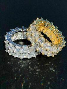 Tennis Ring 14k Gold & Solid 925 Silver Princess Cut Diamond Pinky Wedding Band