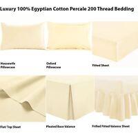 Luxury 100% Egyptian Cotton Fitted Flat Frilled Valance Sheet Base Valance Cream
