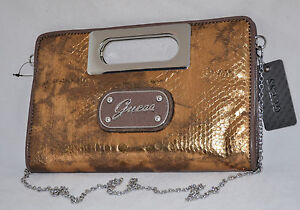 $75 GUESS by Marciano Eye Catching Bronze Clutch Mini Chain Bag Purse Snake New