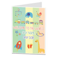 Personalised Customised New Baby Card Congratulations Baby Boy Girl