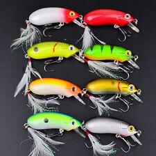 8pcs/Lot Minnow Feather Hooks Fishing Lures Crank Bait Bass Tackle 10.3g/6.35cm