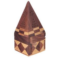 Pirámide de madera Sheesham Caja Quemador de incienso palo Soporte Cenicero Decoración del hogar IF172