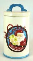 Vintage Ceramic Santa Claus Biscuit Cookies Christmas Jar with Lid Glazed 3D