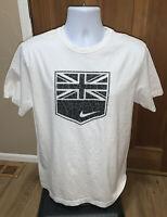 NWOT Nike White Swoosh Graphic Design T Shirt Size L Large Standard Fit