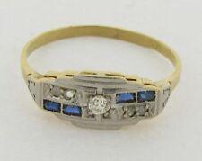 Antique Art Deco Diamonds Sapphires Platinum & Marked 18K Yellow Gold Ring