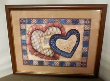 "Home Interiors ""Hearts in Quilt"" by Robbie Aller; Very Good Condition"