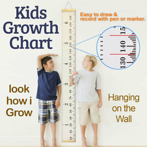 Children Kids Growth Height Chart Wooden Ruler Room Decor Wall Hanging Measure