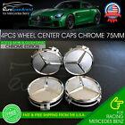 75mm Silver Chrome Wheel Center Hub Caps Emblem 4PC Set Mercedes Benz AMG Wreath