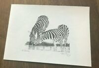 Signed by Glenn Irving limited edition of 100 zebra print of pencil sketch