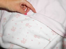 """le top BEAR BABY BLANKET PINK  BEAR WITH  hearts flowers LOVEY 29x29"""""""