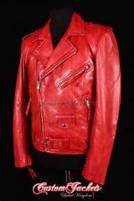 Mens BRANDO SLIM-FIT Leather Jacket Red Wax Lambskin Smart Bikers Leather Jacket