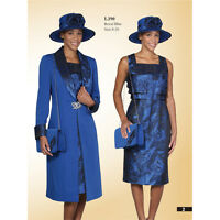 Lady's New Luxious Formal  Long Dress with Over Coat Suit Royal Blue by Lynda's