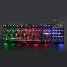 Rii RK100+ 7 Color Rainbow LED Backlit Mechanical Feeling USB Wired Gaming Ke
