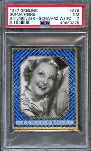 1937 GREILING Cigarette Card #278 SONJA HENIE Olympic Skater Actress PSA 7