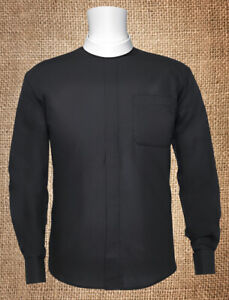 Men's *BLACK* Long Sleeves BANDED Collar Clergy Clerical Minister Priest Shirt