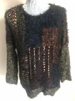 Womens Christmas Jumper Size 12 Black Multicoloured Sparkly Long Sleeved