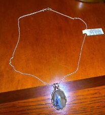 QVC Oval Labradorite Sterling Slide Design Pendant with Chain; NWT!!